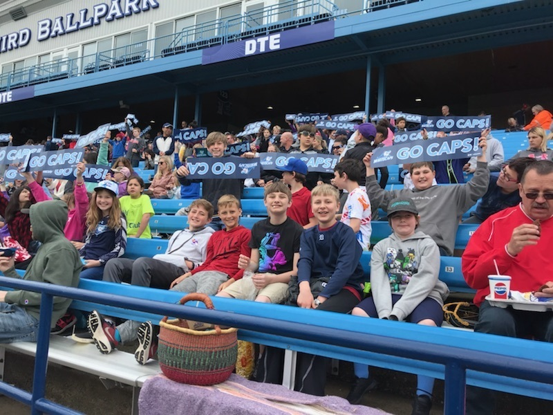 5th Grade boys enjoying watching baseball!