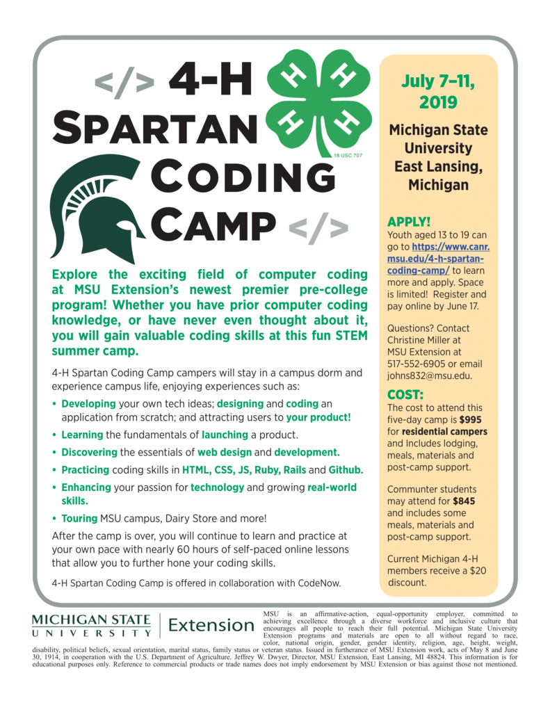 4-H Summer Coding Camp!