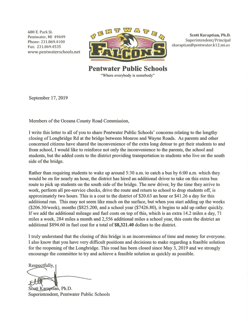 Letter from Dr Karaptian to Oceana County Road Commission