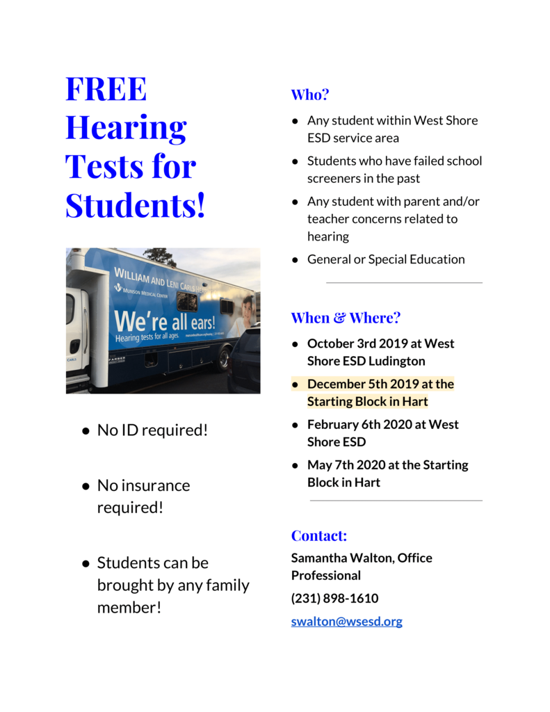 Free Hearing Tests for Students!